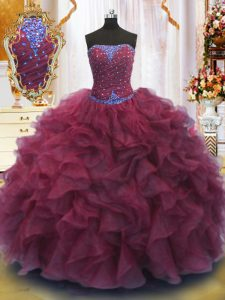 Strapless Sleeveless Lace Up Sweet 16 Dresses Burgundy Organza