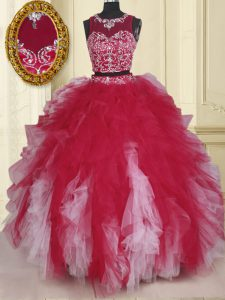 Scoop Floor Length Zipper Sweet 16 Dresses White And Red for Military Ball and Sweet 16 and Quinceanera with Beading and Ruffles