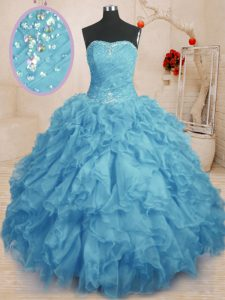 Spectacular Sleeveless Lace Up Floor Length Beading and Ruffles and Ruching Quinceanera Gowns