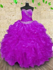Stylish Purple Ball Gowns Halter Top Sleeveless Organza Floor Length Lace Up Beading and Ruffles and Ruching Quinceanera Gowns