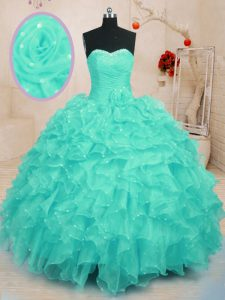 Fancy Turquoise Sweetheart Neckline Beading and Ruffles and Hand Made Flower Quinceanera Dress Sleeveless Lace Up