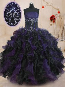 Strapless Sleeveless Lace Up Ball Gown Prom Dress Black And Purple Organza