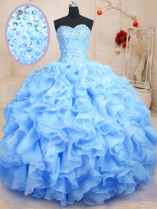 Blue Ball Gowns Organza Sweetheart Sleeveless Beading and Ruffles Floor Length Lace Up Quinceanera Gowns
