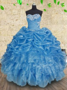 Sweet Floor Length Ball Gowns Sleeveless Baby Blue 15 Quinceanera Dress Lace Up