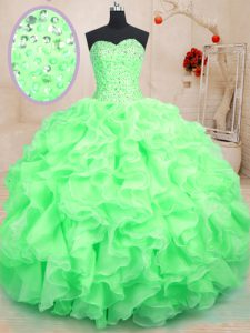 Floor Length Green Quinceanera Gown Sweetheart Sleeveless Lace Up