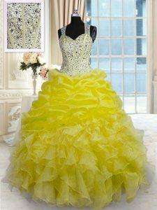 Floor Length Ball Gowns Sleeveless Yellow Vestidos de Quinceanera Zipper