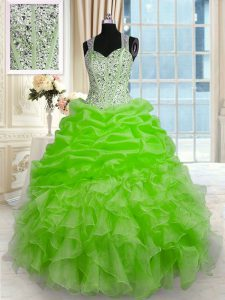 Custom Designed Ball Gowns Beading Sweet 16 Dress Zipper Organza Sleeveless Floor Length