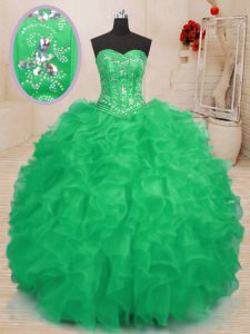 Floor Length Lace Up Quinceanera Gown Teal and Green for Military Ball and Sweet 16 and Quinceanera with Beading and Ruffles