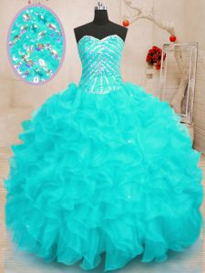 Aqua Blue Sweetheart Lace Up Beading and Ruffles and Sequins Quince Ball Gowns Sleeveless