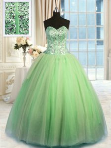 Floor Length Lace Up 15 Quinceanera Dress Green for Military Ball and Sweet 16 and Quinceanera with Beading and Ruching