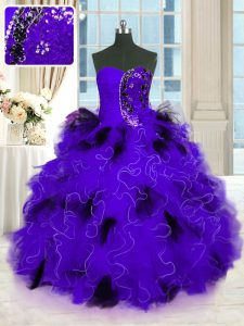 Black And Purple Strapless Neckline Beading and Ruffles Quinceanera Gown Sleeveless Lace Up