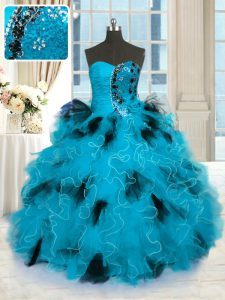 Floor Length Blue And Black Quinceanera Dress Tulle Sleeveless Beading and Ruffles