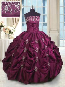 Pick Ups Floor Length Ball Gowns Sleeveless Burgundy 15 Quinceanera Dress Lace Up
