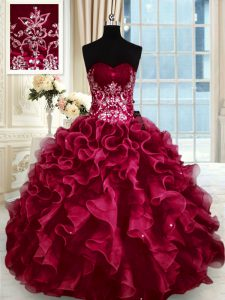 Wine Red Organza Lace Up Sweetheart Sleeveless Floor Length Sweet 16 Dresses Beading and Appliques and Ruffles