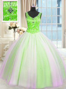 Fantastic Sleeveless Floor Length Beading and Sequins Lace Up Quinceanera Gowns with Multi-color