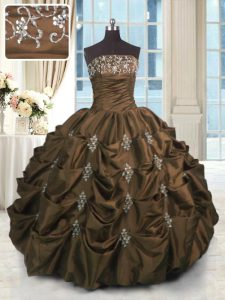 Exquisite Taffeta Strapless Sleeveless Lace Up Beading and Appliques and Embroidery and Pick Ups Sweet 16 Dress in Chocolate