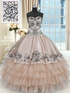 Latest Champagne Lace Up Sweetheart Beading and Embroidery and Ruffled Layers Quince Ball Gowns Organza and Taffeta Sleeveless