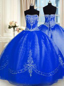 Suitable Strapless Sleeveless Organza Sweet 16 Quinceanera Dress Beading and Embroidery Lace Up