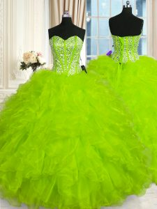 Low Price Sweetheart Sleeveless Organza Ball Gown Prom Dress Beading and Ruffles Lace Up
