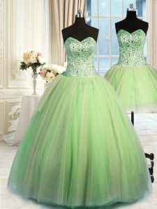 Three Piece Sleeveless Floor Length Beading Lace Up Quinceanera Gowns with Yellow Green