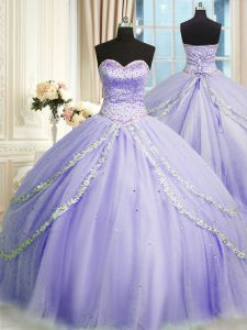 Lavender Ball Gowns Tulle Sweetheart Sleeveless Beading and Appliques With Train Lace Up Quinceanera Dresses Court Train
