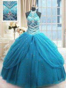 Noble High-neck Sleeveless Quinceanera Dress Floor Length Beading Baby Blue Tulle
