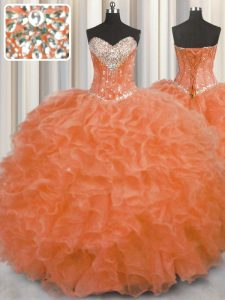 Sleeveless Organza Floor Length Lace Up Quinceanera Gowns in Orange Red with Beading and Ruffles