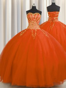 Really Puffy Sweetheart Sleeveless Sweet 16 Quinceanera Dress Floor Length Beading Red Tulle