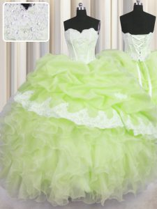 Sweetheart Sleeveless Organza Sweet 16 Dresses Beading and Appliques and Ruffles and Pick Ups Lace Up