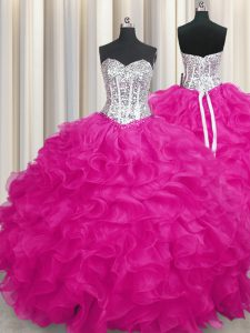 Flirting Fuchsia Sweet 16 Dresses Military Ball and Sweet 16 and Quinceanera with Beading and Ruffles Sweetheart Sleeveless Lace Up
