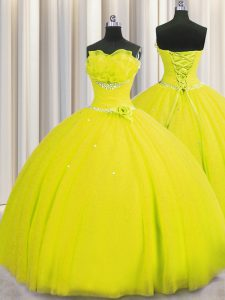Top Selling Handcrafted Flower Yellow Lace Up Strapless Beading and Sequins and Hand Made Flower Quinceanera Gowns Tulle Sleeveless