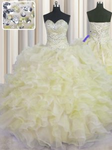 Excellent Light Yellow Lace Up Quince Ball Gowns Beading and Ruffles Sleeveless Floor Length