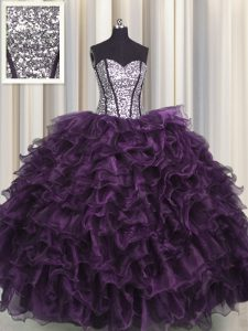 Visible Boning Dark Purple Organza and Sequined Lace Up Quinceanera Dress Sleeveless Floor Length Ruffles and Sequins