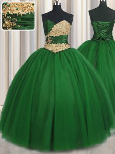Floor Length Green Quinceanera Dresses Tulle Sleeveless Beading and Appliques