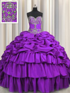 Purple Taffeta Lace Up Sweetheart Sleeveless Quince Ball Gowns Brush Train Beading and Embroidery and Ruffled Layers and Pick Ups
