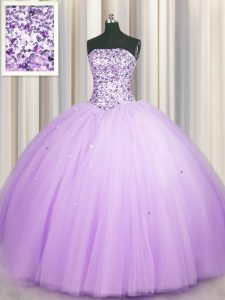Really Puffy Lavender Lace Up Strapless Beading and Sequins 15th Birthday Dress Tulle Sleeveless