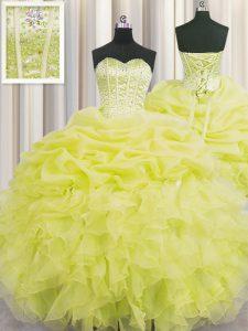 Dramatic Visible Boning Floor Length Yellow Sweet 16 Dresses Organza Sleeveless Beading and Ruffles and Pick Ups
