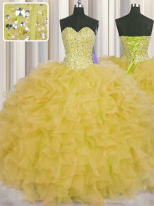 Glorious Visible Boning Ball Gowns Quinceanera Gowns Yellow Sweetheart Organza Sleeveless Floor Length Lace Up
