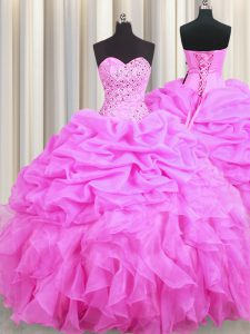 Pick Ups Floor Length Ball Gowns Sleeveless Rose Pink Quinceanera Dresses Lace Up