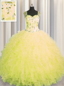 Super See Through Zipper Up Floor Length Yellow Quinceanera Gowns Tulle Sleeveless Beading and Ruffles
