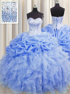 Visible Boning Sleeveless Lace Up Floor Length Ruffles and Pick Ups Sweet 16 Quinceanera Dress