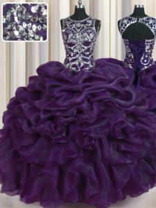 Hot Selling Scoop Dark Purple Sleeveless Beading and Pick Ups Floor Length Vestidos de Quinceanera