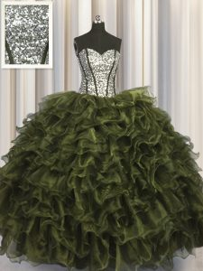 Modest Visible Boning Olive Green Sleeveless Floor Length Ruffles and Sequins Lace Up Quinceanera Gowns