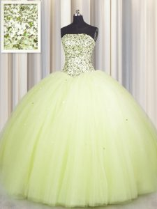 Fashionable Big Puffy Light Yellow Lace Up Quinceanera Dresses Beading and Sequins Sleeveless Floor Length