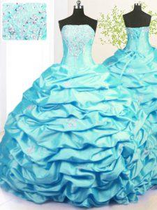 High Class Aqua Blue Strapless Lace Up Beading and Pick Ups Sweet 16 Dresses Sweep Train Sleeveless