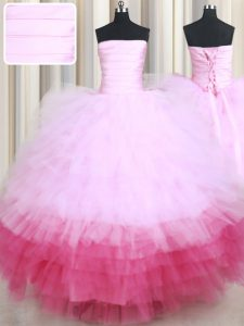 High End Ruffled Floor Length Multi-color 15 Quinceanera Dress Strapless Sleeveless Lace Up