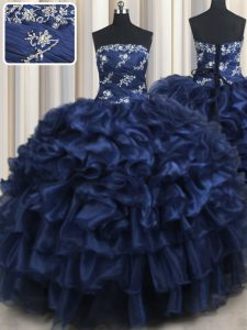 High End Navy Blue Ball Gowns Organza Strapless Sleeveless Appliques and Ruffles and Pick Ups Floor Length Lace Up Sweet 16 Dresses