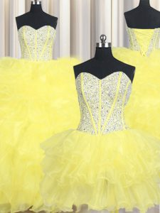 Three Piece Beading and Ruffles Quince Ball Gowns Yellow Lace Up Sleeveless Floor Length