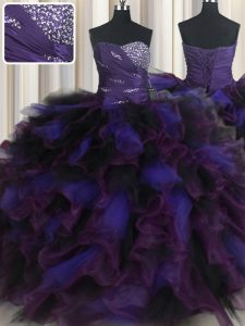 Discount Multi-color Sleeveless Beading and Ruffles Floor Length Sweet 16 Quinceanera Dress