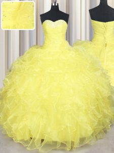 Modest Yellow Quinceanera Dress Military Ball and Sweet 16 and Quinceanera with Beading and Ruffles Sweetheart Sleeveless Lace Up